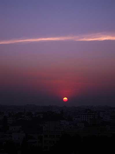 バンガロール 夕陽